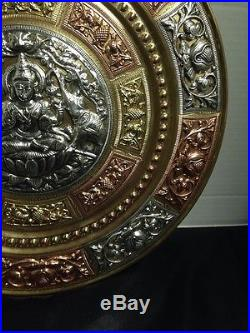 Vintage 13 BRASS Table Wall Platter Plaque Tray Art Made in India Nice
