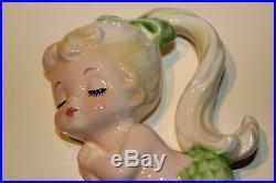 Vintage 1940's Ceramic Mermaid w Umbrella Parasol Wall Plaque Japan 2-pc. Set