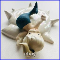 Vintage 1946 Lefton Mermaid Wall Plaque Opalescent Shell, Matte Blue Tail