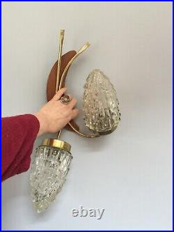Vintage 1950-70's Plywood Double Bullet Shade Wall Light