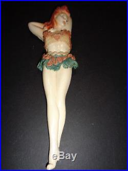 Vintage 1950's Hula Girl Pin up Girl Chalkware Chalk Wall Plaque Figurine