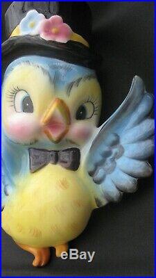Vintage 1950's Lefton Japan Anthropomorphic Mr. Bluebird Boy Wall Pocket Plaque