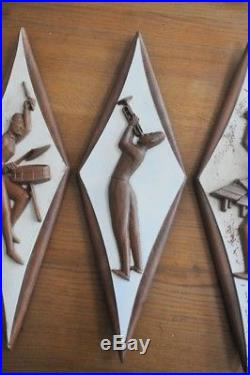 Vintage 1950s 3 JAZZ wall plaques dance hall record collection man cave
