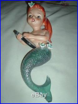 Vintage 1950s Lefton MERMAID Set of TWO Wall Plaques- 8 and 4