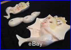 Vintage 1950s Umbrella Mermaids Raindrops 3 Pc Ceramic Wall Plaques Bath Decor