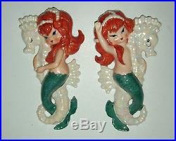 Vintage 1958 Lefton Mermaids Riding Seahorses Redheads Wall Plaques Rare Pair