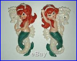 Vintage 1958 Lefton Mermaids Riding Seahorses Redheads Wall Plaques Rare Pair
