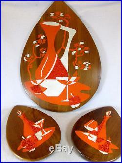 Vintage 1960s Mid Century Modern 3 piece still life wood wall plaques in orange