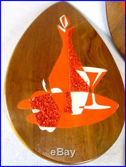 Vintage 1960s Mid Century Modern 3 piece still life wood wall plaques in orange