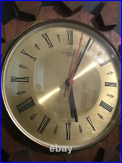 Vintage 1960s Teak Brass Anstey & Wilson Starburst Sunburst Wall Clock Working