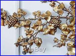 Vintage 1966 Syroco Gold Grapes Wall Sculpture Mid Century Plaque Grapevine 50