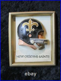 Vintage 1969 New Orleans Saints NFL Technigraph MINI Football Helmet Wall Plaque