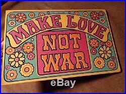 Vintage 1969 Yorkcraft MAKE LOVE NOT WAR wall plaque wood