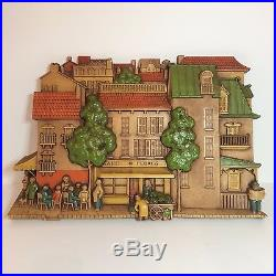 Vintage 1970s Molded Plastic Painted Wall Plaque Cafe de Flores MCMLXXVI SYROCO