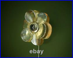 Vintage 1970s Swedish Brass & Cast Glass Flower-Shaped Wall Lamp Scandinavian