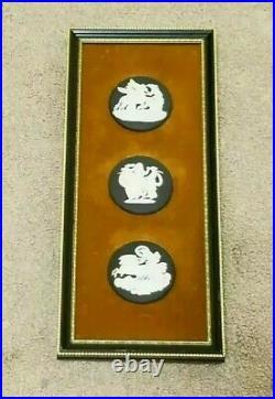 Vintage 1971 Wedgwood Three Round Black Jasperware Cameos Framed Wall Plaque