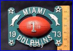Vintage 1973 MIAMI DOLPHINS FOOTBALL License Plate Wall Plaque RARE PIECE