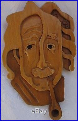 Vintage, 1976, Bulgarian Carved Wall-Plaque of Albert Einstein -Hardwood withPipe