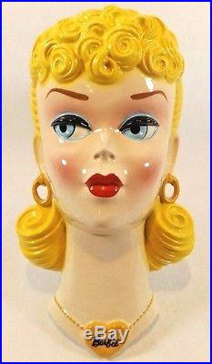 Vintage 1989 Clay Art Ceramic Barbie Wall Hanging Face Mask Plaque