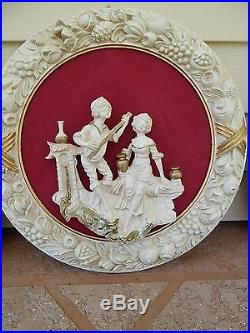 Vintage 3-D Wall Hanging / plaques Empire Victorian Style-Sculptured Resin-Italy