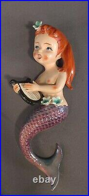 Vintage 3 Matching LEFTON MERMAIDS and 2 Matching SEAHORSE Ceramic Wall Plaque