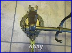 Vintage 40 Brass Horse Head Coat Clothes Rack Wall Mount Holder 5 Hooks Hanger