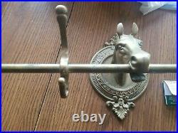 Vintage 41 Brass Horse Head Clothes Coat Rack Wall Mount Holder 5 Hook Hanger