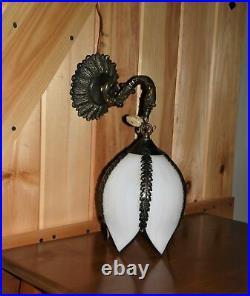 Vintage 5 Panel Slag Glass Wall Sconce Lighting Fixture Hanging Tulip Lamp