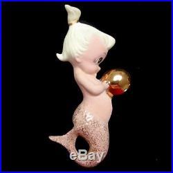 Vintage 5 Piece Freeman McFarlin Pink Mermaid Mom & Baby Wall Plaque Hanging Set