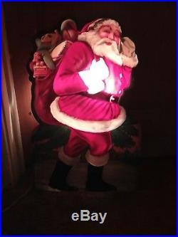 Vintage 50's Flat Plastic Vaccum Christmas Santa Light Up Wall Plaque Blow Mold
