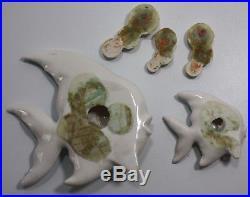 Vintage 50's Norcrest  Hanging Ceramic Wall Plaque Fish & Bubbles