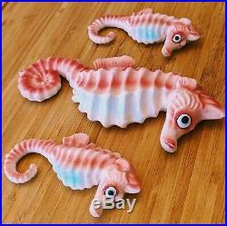 Vintage 50s Bradley Ceramic Seahorse Wall Hanging Plaque Set 3 Pink Blue Japan
