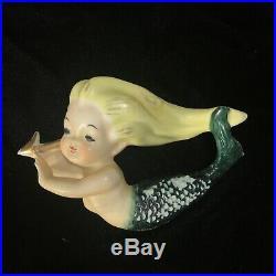 Vintage 50s Set of 3 Ceramic Mermaids Wall Plaques Bradley Harp Comb Arrow