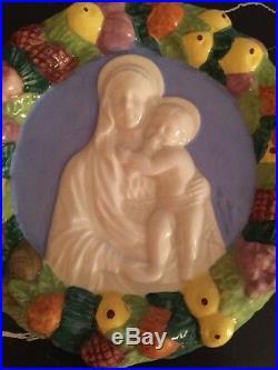 Vintage 6 Inch Della Robbia Madonna & Child Italian Pottery Wall Plaque