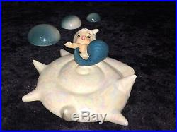 Vintage 6 Mermaid On Opalescent Seashell & 3 Opalescent Bubbles Wall Plaques