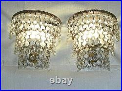 Vintage 60s Pair of 3 Tier Crystal & Brass Wall Lights / Sconces