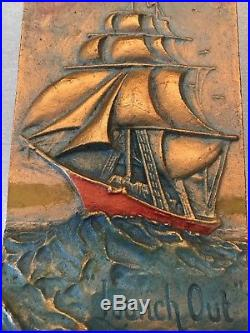 Vintage A. E. Mitchell Ship Wall Plaque 1928 LAUNCH OUT Cast Metal Pristine