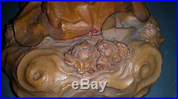Vintage ANRI Italy Carved Wood Virgin Mary Madonna & Baby Jesus Wall Plaque 11