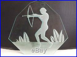 Vintage ART DECO NUDE LADY Frosted Glass WALL PLAQUE PIECE GLASS ETCHED RARE