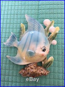 Vintage Adorable 1950's Norcrest Lefton Fish Wall Plaque, Iridescent Blue