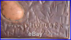 Vintage African Hammered Copper Folk Art Wall Plaque, Mask, Artist Signed