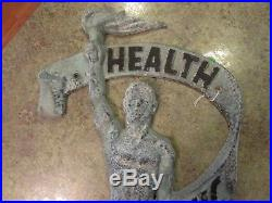 Vintage Aluminum Outdoor Wall Sign Plaque HEALTH CHIROPRACTIC Logo 29.5 RARE