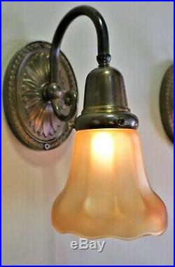 Vintage American Brass Wall Sconces with Nuart glass Shades Set of 4