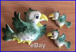 Vintage Anthropomorphic Bird Wall Plaques Parrots Family Made In Japan HTF