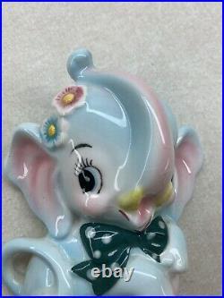 Vintage Anthropomorphic Py Japan Elephant Wall Plaque Pocket