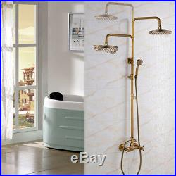 -Vintage Antique Brass 8 Rain Shower Faucets Set WithHand Mixer Tap Wall Mounted