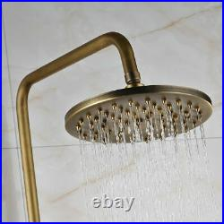 Vintage Antique Brass Wall Mount Bathroom Tub Sink Swivel Faucet Mixer With Shelf