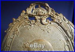 Vintage Antique Cast Iron Art Nouveau Wall Plaque Bronze Patina Stunning Ornate