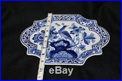 Vintage Antique Delft Porcelain handpainted Peacock & Butterfly wall plaque