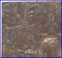 Vintage Antique French Old World Scrolling Metal Medallion Wall Art Plaque Decor